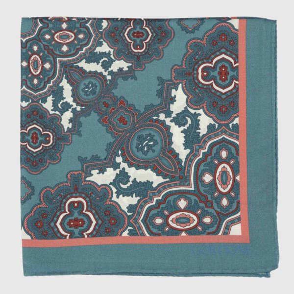 Tilework Silk Pocket Square in Green & Coral