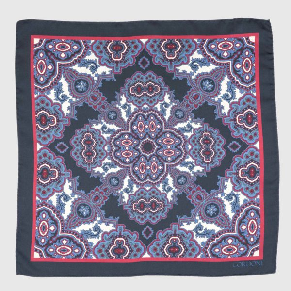Tilework Silk Pocket Square in Blue & Pink
