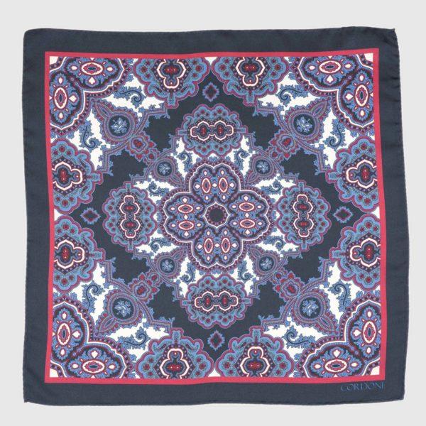 Tilework Silk Pocket Square in Blue & Pink