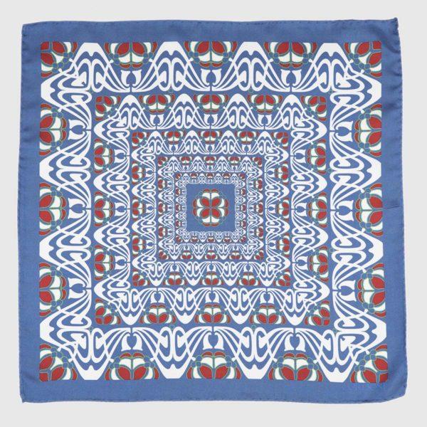 Batik Silk Pocket Square in Azure & Red