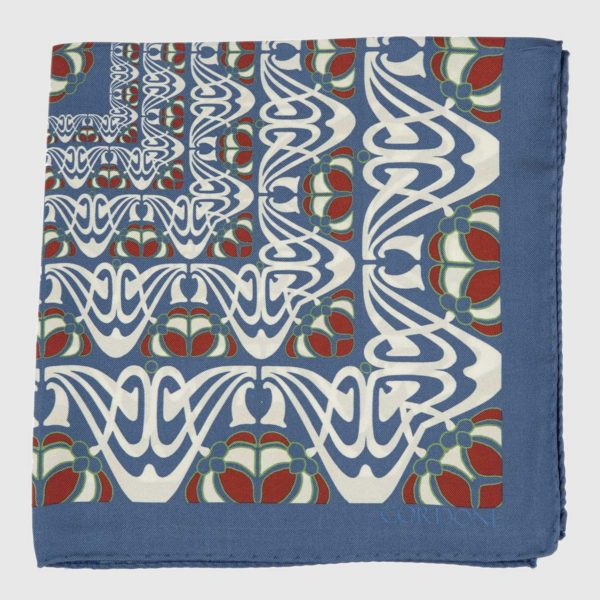 Batik Silk Pocket Square in Azure & Red