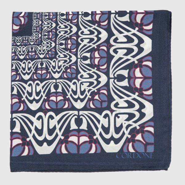 Batik Silk Pocket Square in Blue & Azure
