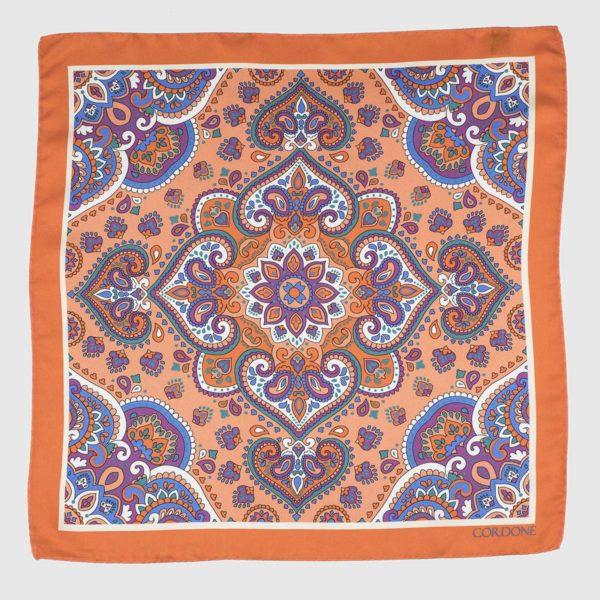Lotus Silk Pocket Square in Orange & Violet
