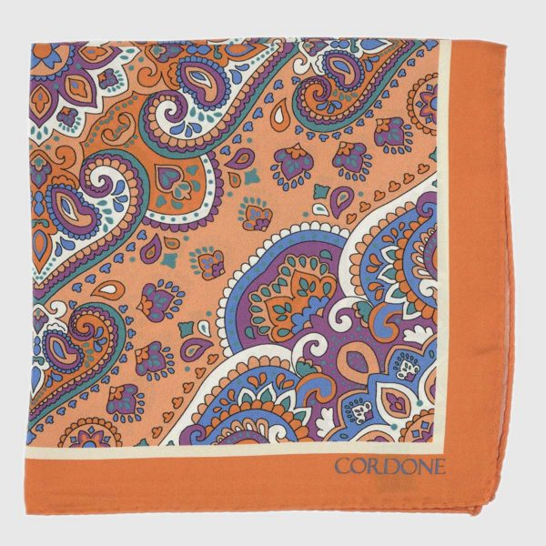 Lotus Silk Pocket Square in Orange & Violet