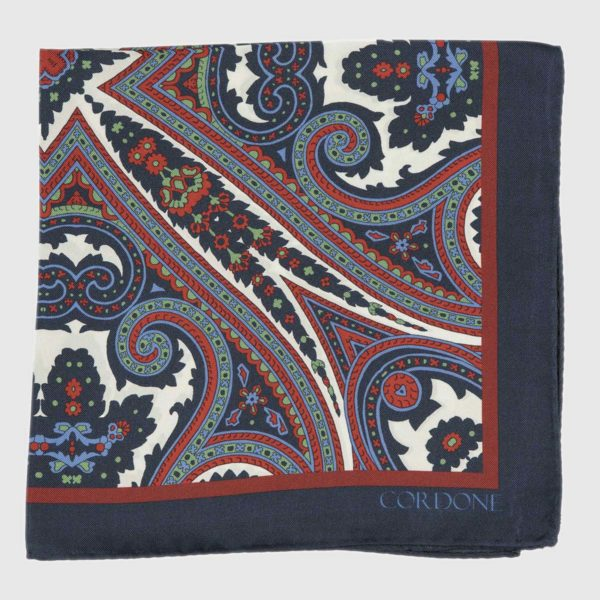 Moroccan Pocket Square in Blue & Red