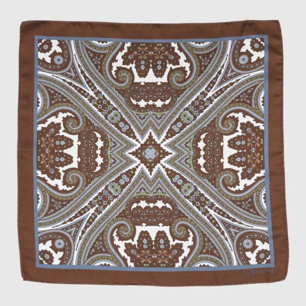 Moroccan Pocket Square in Brown & Azure