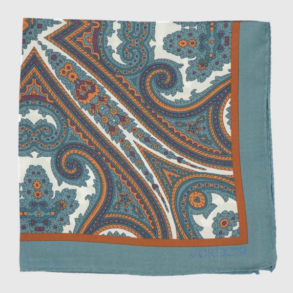 Moroccan Pocket Square in Teal, Orange, and White