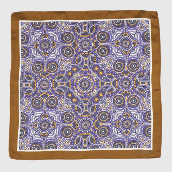 Fes Silk Pocket Square in Brown & Violet