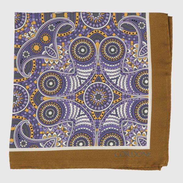 Fes Silk Pocket Square in Brown & Violet