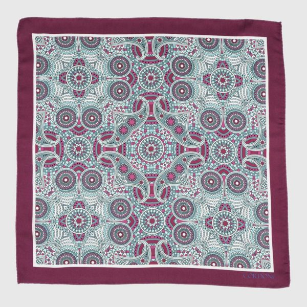 Fes Silk Pocket Square in Bordeaux & Green