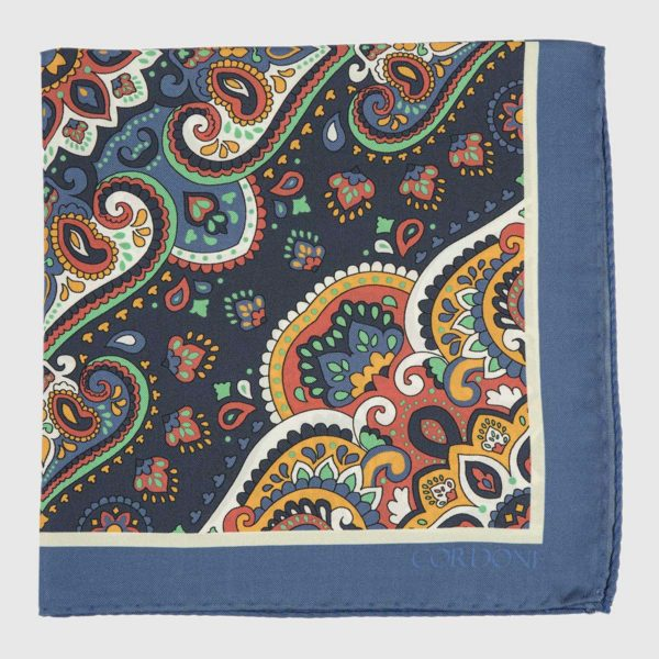 Lotus Silk Pocket Square in Blue, Yellow, & Red