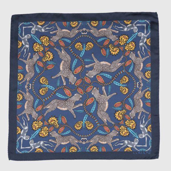 Panthera Pocket Square in Blue & Yellow