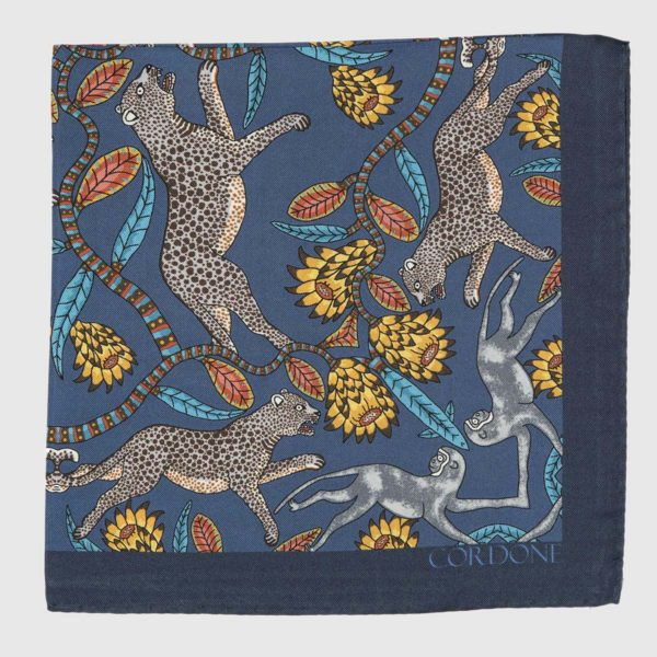 Panthera Pocket Square in Blue & Yellow