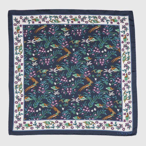 Egret Pocket Square in Blue, White, & Violet