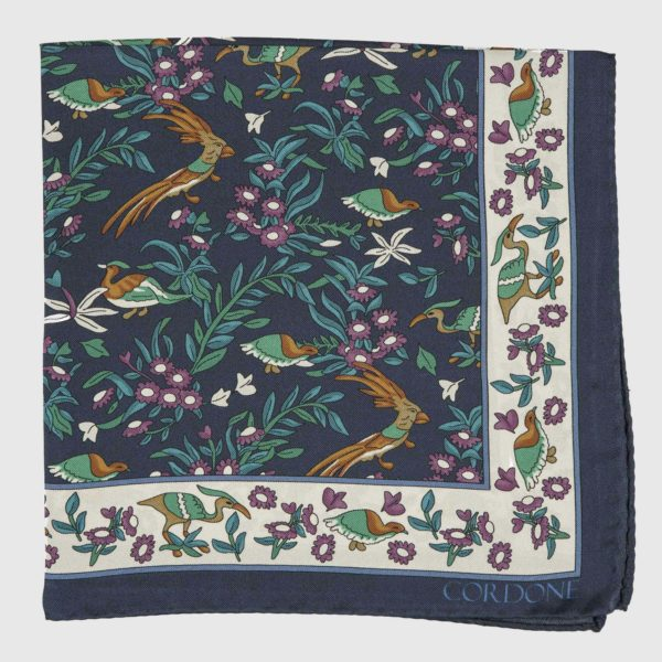 Egret Pocket Square in Blue, White, & Violet