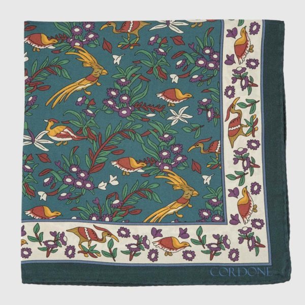 Egret Silk Pocket Square in Blue, White, & Green
