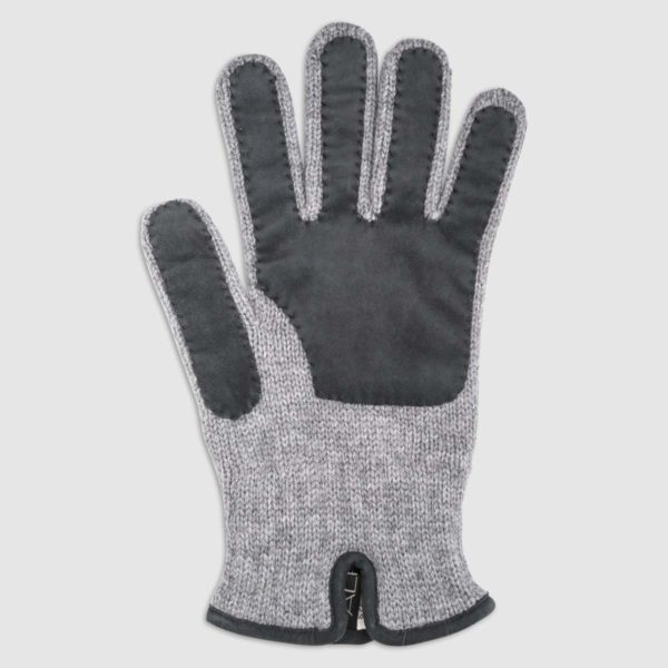 Guanto in lana con palmo in pelle scamosciata