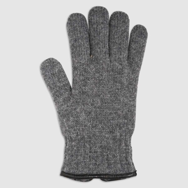 Wool Glove with Ecological Fur Lining in Grigio