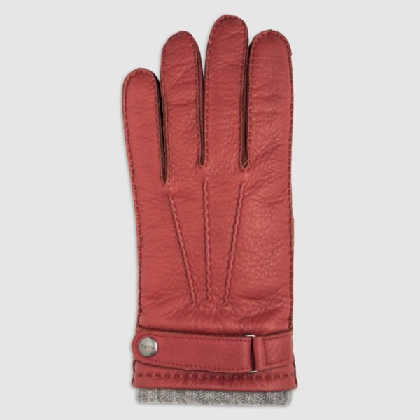 Red Leather Glove with Cashmere Lining