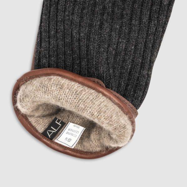 Guanto in lana con palmo in pelle e fodera in cashmere