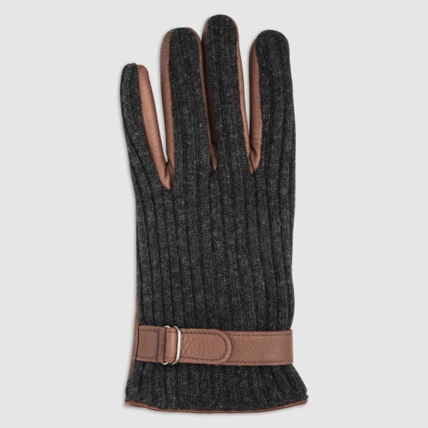 Wool Glove with Leather Palm and Cashmere Lining in Chestnut