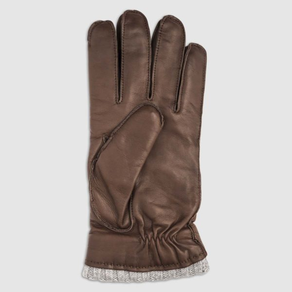 Nappa Leather Glove with Cashmere Lining in Conker