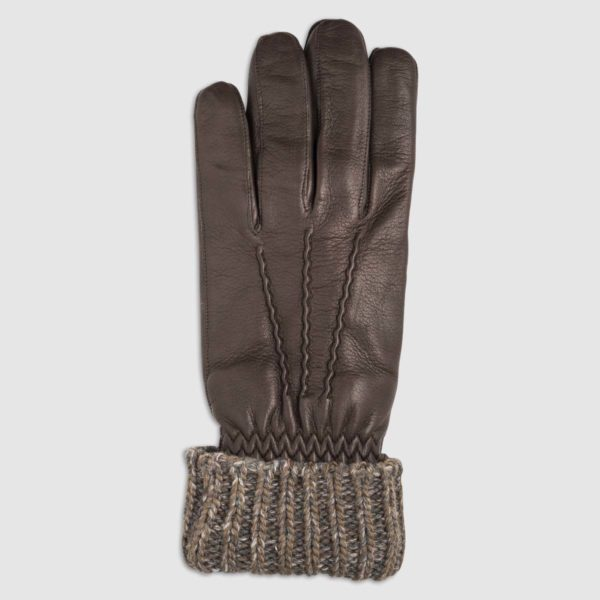 Nappa Leather Glove with Wool Wrist and Wool Lining in Brown