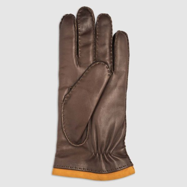Nappa Leather Glove with Cashmere Lining and Suede Details in Conker