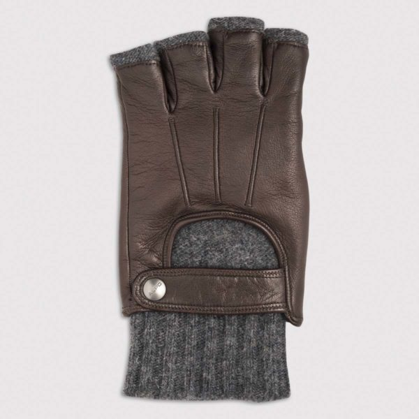 Half-Finger Nappa Leather Glove with Wool Lining in Mocca