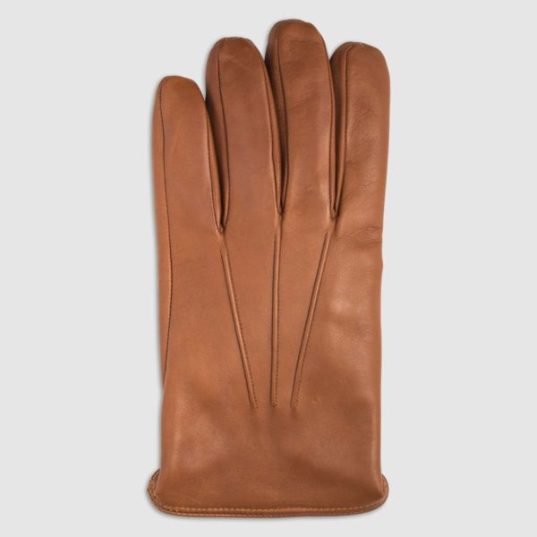 Nappa Leather Glove with Cashmere Lining in Cognac