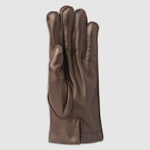 Hand-Stitched Nappa Leather Glove with Cashmere Lining in Conker