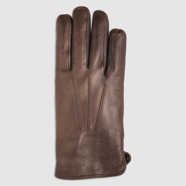 Nappa Leather Glove with Lapin Lining in Brown