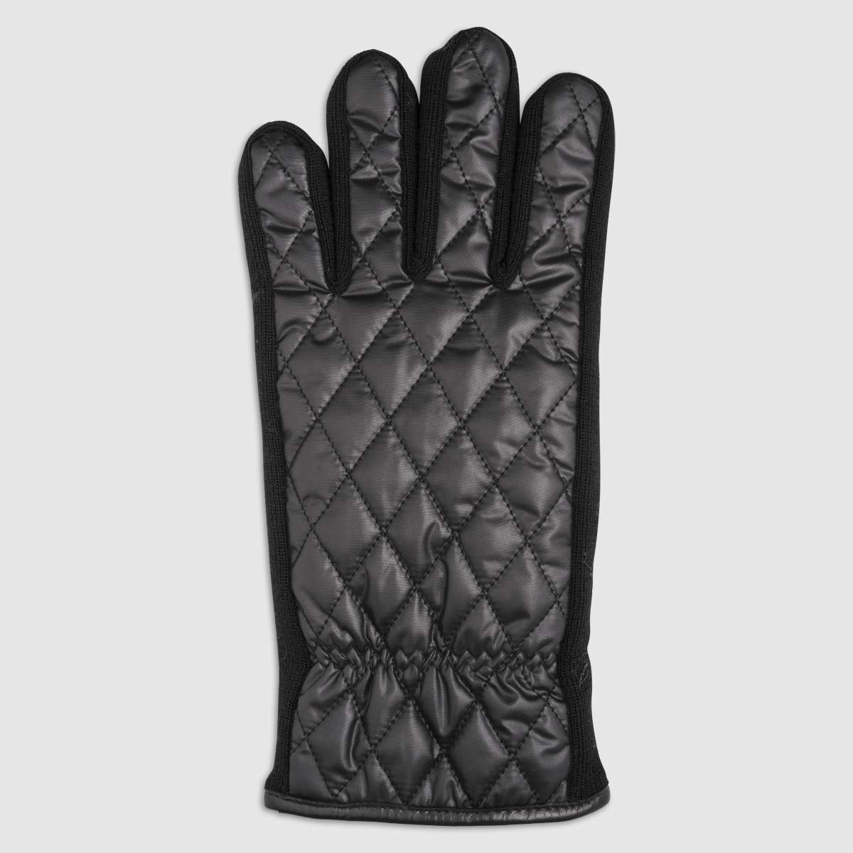 Quilted Nylon Glove with Fleece Lining in Black & Blue