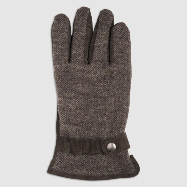 Wool Glove with Leather Palm and Fleece Lining in Moro