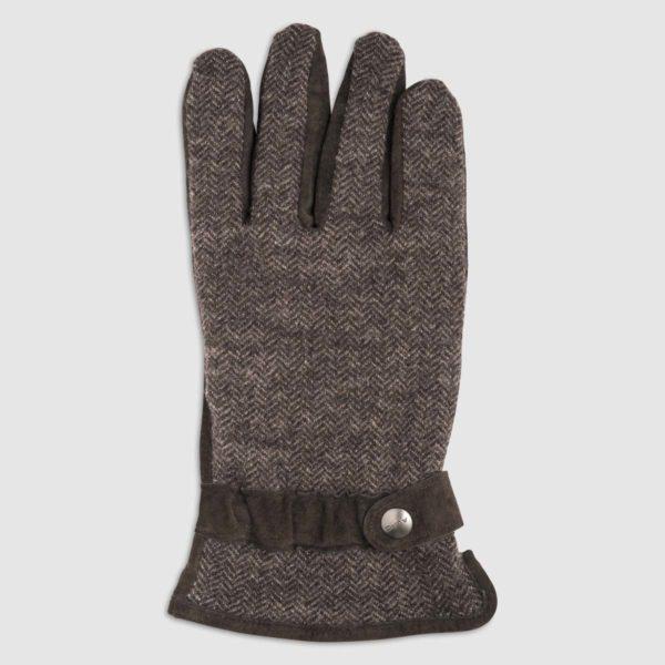 Guanto in lana con palmo in pelle moro e fodera in pile