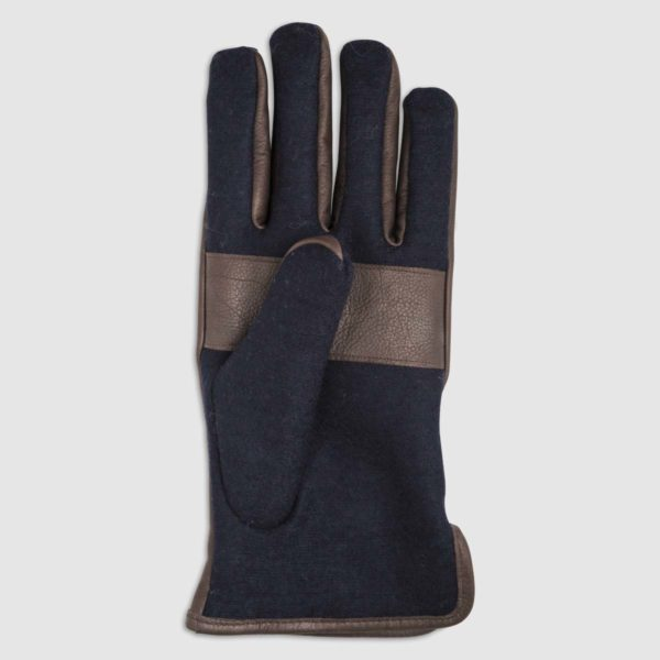 Wool Glove with Leather Details in Blue