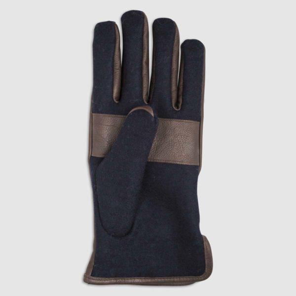 Guanto in lana con dettagli in pelle blu