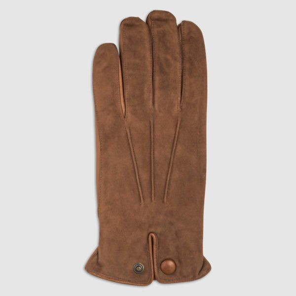 Suede Glove with Nappa Leather Accents and Cashmere Lining in Cognac