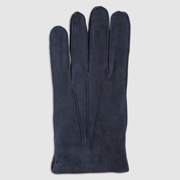 Guanto scamosciato con fodera in cashmere blu