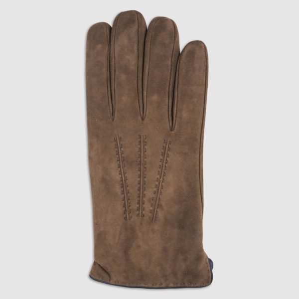 Suede Glove with Cashmere Lining in Cigar & Blue