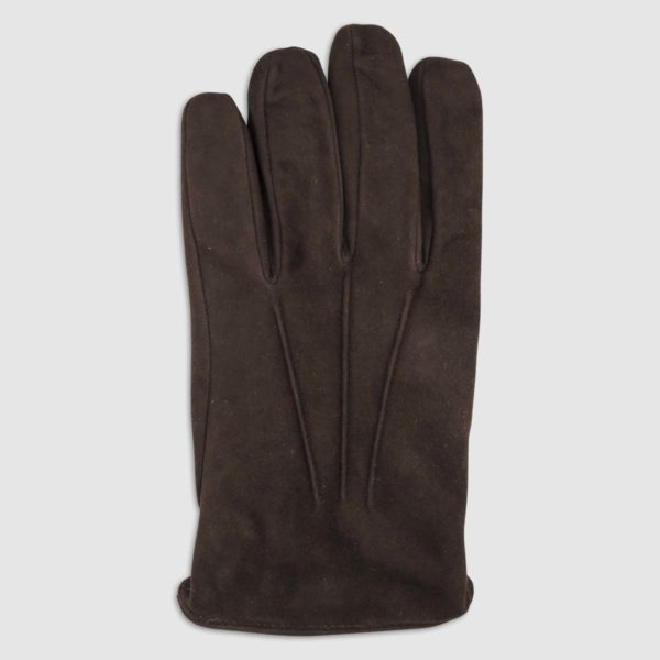 Suede Glove with Cashmere Lining in Brown