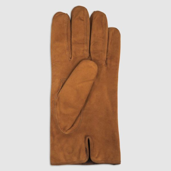 Suede Glove with Rabbit Fur Lining in Camel
