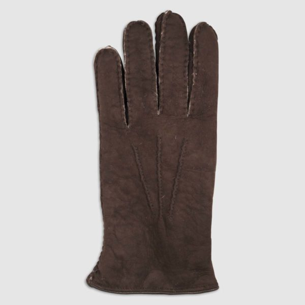 Leather Glove with Shearling Lining in Brown