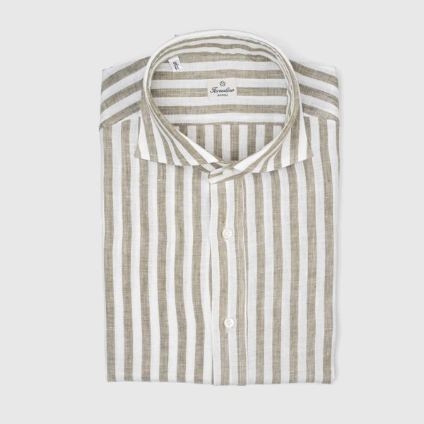Sartoria Iervolino Dress Shirt in Hazelnut Stripe