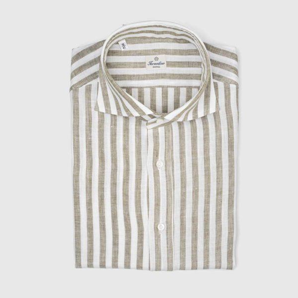 Sartoria Iervolino Dress Shirt in Hazelnut Stripe
