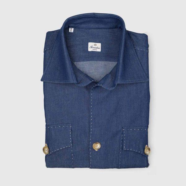 Sartoria Iervolino Cotton Safari Shirt in Denim