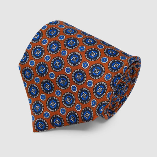 Orange with Blue Round Pattern Silk Tie