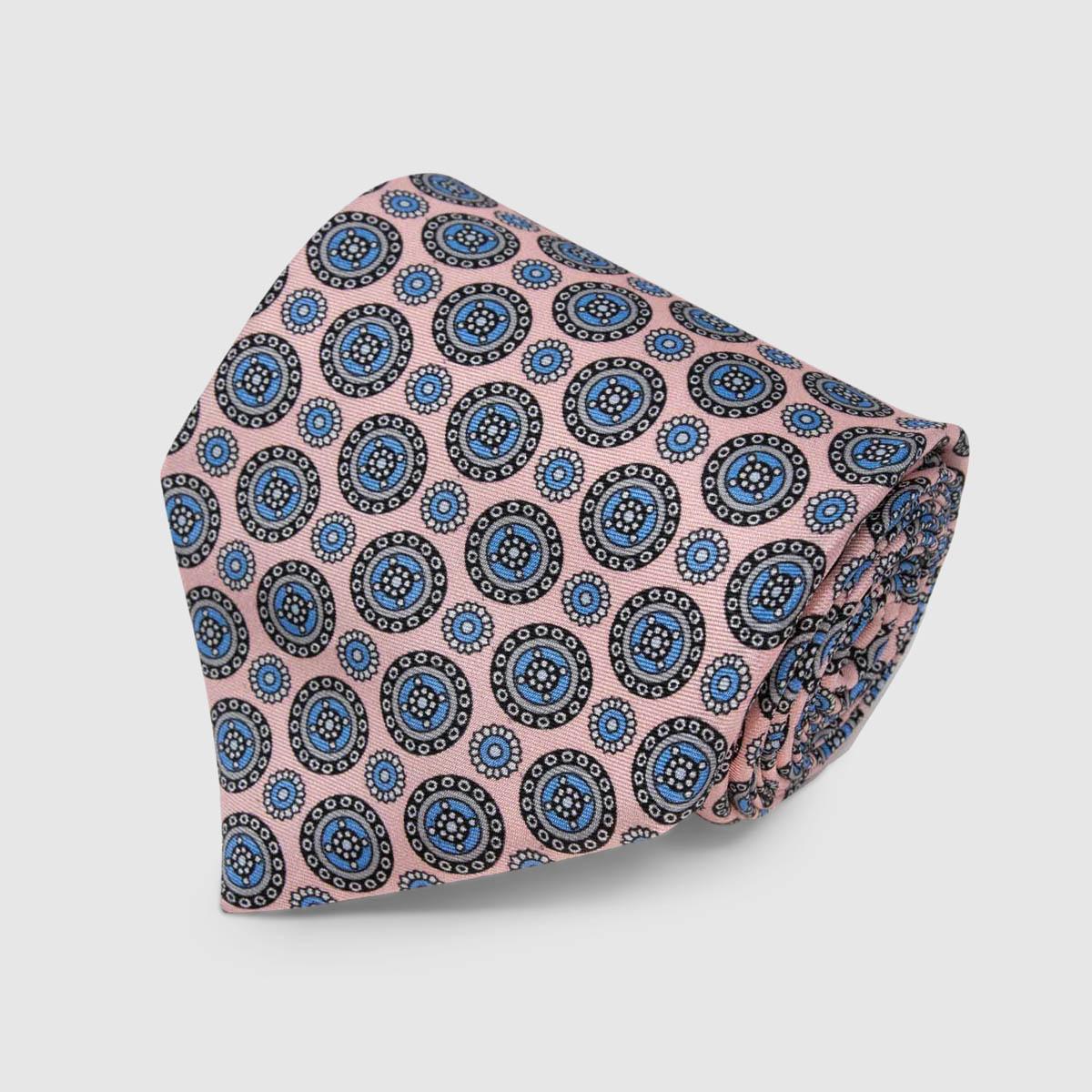 Cravatta in Seta rosa chiaro con motivo tondo