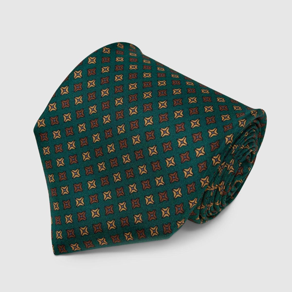 Cravatta di Seta verde con motivo a pois quadrati marrone