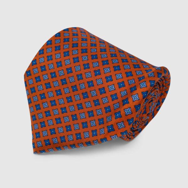 Orange with Square Dots Pattern Silk Tie